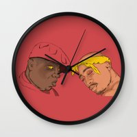 tupac Wall Clocks featuring Resting Kings by Aybee Omari