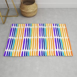 Gouache complementary color line pattern Rug