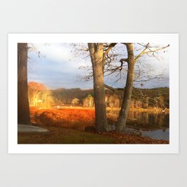 Delaware River Glowing Fall Foliage Art Print