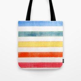 Rainbow stripes on canvas Tote Bag