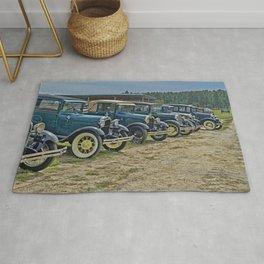 Vintage Car Lineup Rug