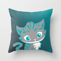 cheshire cat Throw Pillows featuring Cheshire Cat by Pixelowska