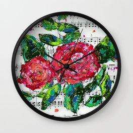 Melody - Floral - Piano notes Wall Clock