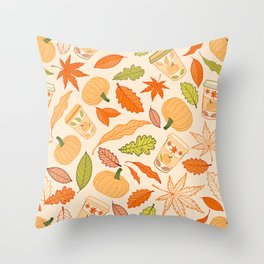 Pumpkin Spice Season Latte and Fall Leaves Pattern Throw Pillow