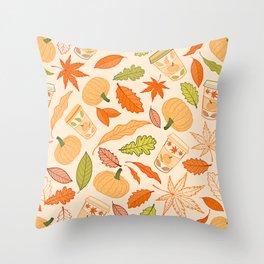 Pumpkin Spice Season Latte and Fall Leaves Pattern Throw Pillow