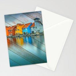 Faux Wood Blue Morning at Waters Edge Groningen Netherlands Europe Coastal Landscape Photograph Stationery Cards