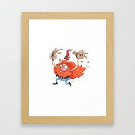 The Rich Burning Criminal Garden Gnome - giclée print Framed Art Print
