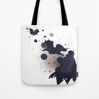 dmmd Tote Bags featuring Take me away by Aspen Bear