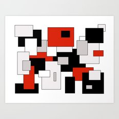 Squares - gray, red, black and white Art Print