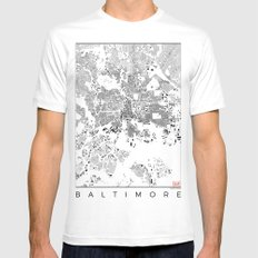 Baltimore Map Schwarzplan Only Buildings MEDIUM Mens Fitted Tee White