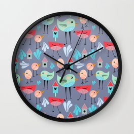 Birdie Pattern Wall Clock