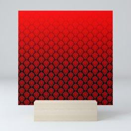 Black and Red Pentagram Damask Pattern Mini Art Print