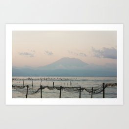 Seaweed fields and Bali in the mist Art Print