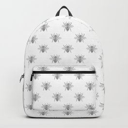 Vintage Honey Bees in Grey on White Backpack