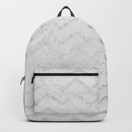 Geometric gray marble silver glitter chevron Backpack