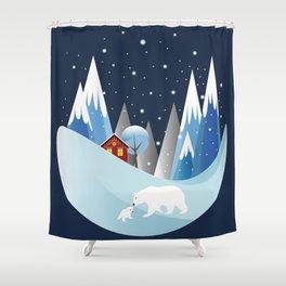 Snowing Bubble Shower Curtain