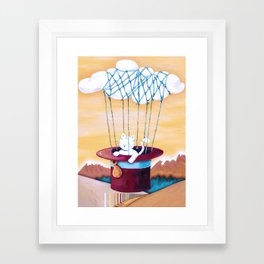 The cat traveling in dreams Framed Art Print