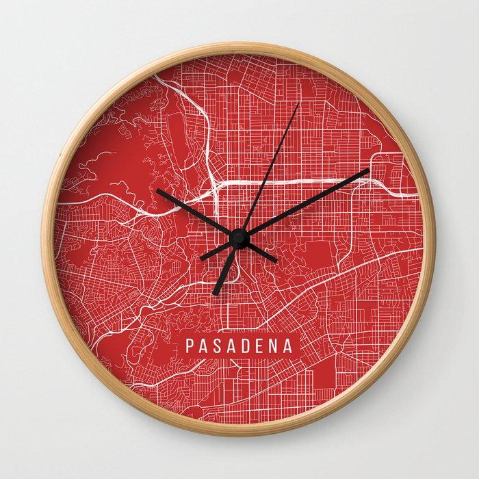 Pasadena Map, USA - Red Wall Clock
