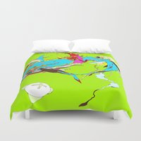 akira Duvet Covers featuring 因幡の白兎 - WHITE HARE OF INABA by kasi minami