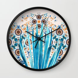 Cactus and Moroccan tiles Wall Clock