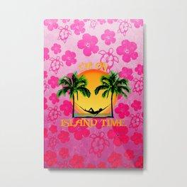Pink Flowers Island Time Metal Print