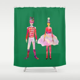 Nutcracker Ballet - Candy Cane Green Shower Curtain