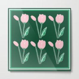 Tulips Pattern in Light Pink and Dark Green Metal Print