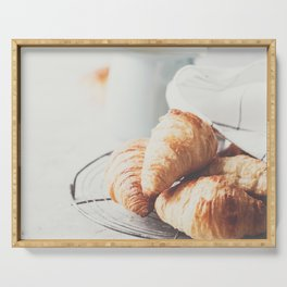 Morning coffee, croissants and spring tulips on light grey background Serving Tray