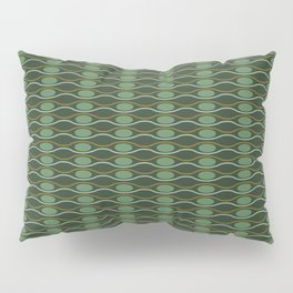 Geometric pattern with waves and pebbles in green Pillow Sham