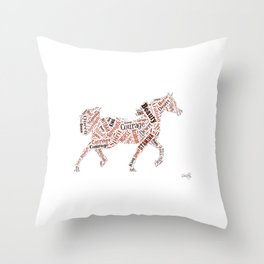Arabian Horse Words Throw Pillow