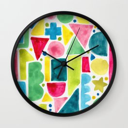 Patterned warm rainbow blocks Wall Clock