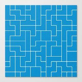 White Tetris Pattern on Blue Canvas Print