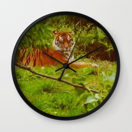 Tiger in the grass Wall Clock