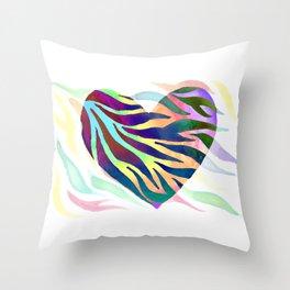 Rainbow Zebra Print Heart! Throw Pillow