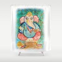 ganesh Shower Curtains featuring Ganesh ji.. by art dun (anup)