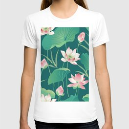 Seamless pattern lotus flowers and leaves T-shirt