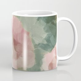 Forest Sage Green Fuchsia Pink Floral Rose Garden Abstract Flower Painting Art Print Wall Decor  Coffee Mug