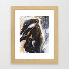 Golden Veined Marble Framed Art Print
