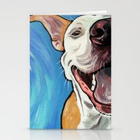 pit bull Stationery Cards featuring Smiling Pit Bull  by WOOF Factory