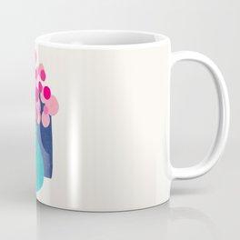 Spring Bloom Paper Collage Colorful Pastel Hues Houseplant Vase Mid Century Modern Minimalist Coffee Mug