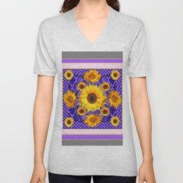 Grey Art Lilac Color & Yellow Sunflowers Garden art Unisex V-Neck