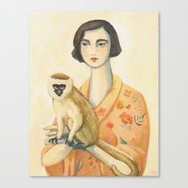 A Lady & A Monkey Canvas Print