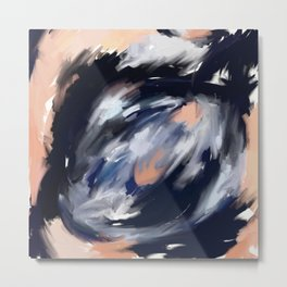 storm's eye - an abstract painting in peach, blue, white and black. Metal Print