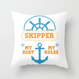 My Boat My Rules Throw Pillow