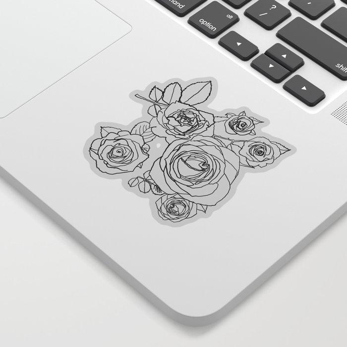Feminine and Romantic Rose Pattern Line Work Illustration Sticker