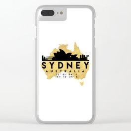 SYDNEY AUSTRALIA SILHOUETTE SKYLINE MAP ART Clear iPhone Case