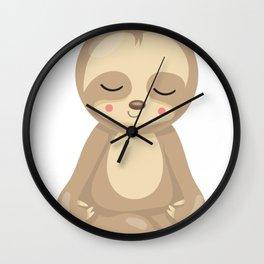 Zen Sloth Sleepy Sloths Yoga Sloth Wall Clock