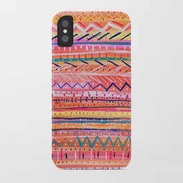 Hand painted Bright Patterned Stripes iPhone Case