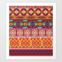 Seamless colorful aztec carpet with birds,flowers and arrow Art Print