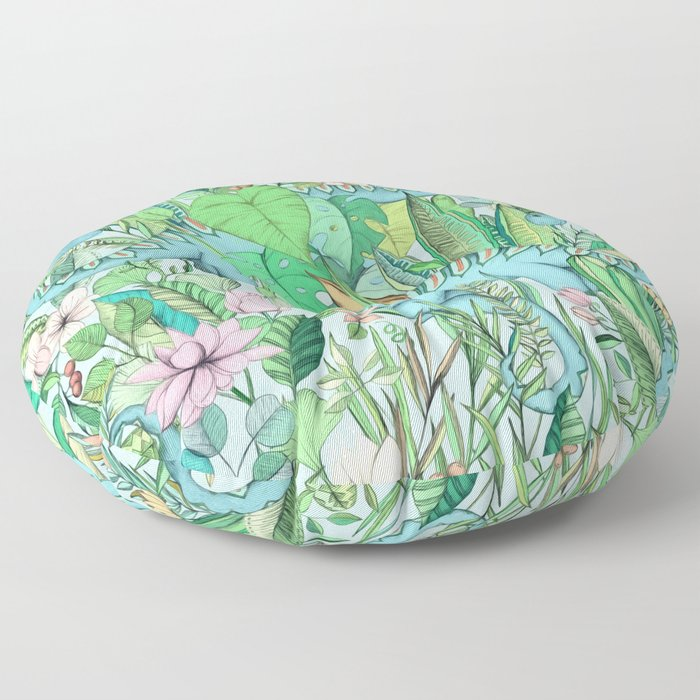 Improbable Botanical with Dinosaurs - soft pastels Floor Pillow